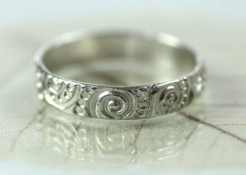 Sterling Band Ring - Art Nouveau Swirl Pattern Photo